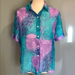 Tops - Aqua Purple Mesh See Through Top Vintage